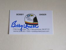 BOBBY UNSER Signed Business Card NASCAR RACING AUTOGRAPH