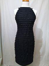 Joseph Ribkoff Women's Black Sequin Beaded Ruffle Dress Sleeveless US 6 UK 8