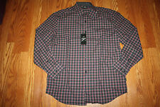 NWT Mens CALVIN KLEIN Victory Red Black Plaid L/S Dress Shirt Size L Large