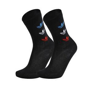 Adidas Tricolor Thin Ribbed Crew Socks 2-Paris Black GN4913