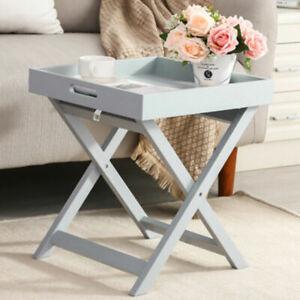 New Folding Wooden Portable Butler Breakfast Dinner Serving Tray Table Grey