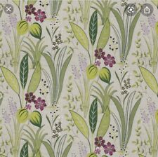 Decorator Embroidered Linen Floral Fabric Green Pink Beige Home Decor Crafts