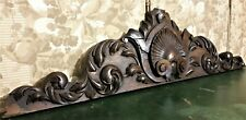 Scroll leaves shell wood carving pediment Antique french architectural salvage