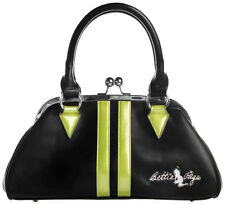 78070 Black & Lime Green Dollface Bettie Page Purse Sourpuss Retro Rockabilly