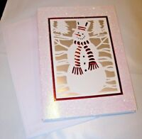 NEW PACK 6 Christmas Cards ENVELOPES RED WHITE GLITTER HOLIDAY WINTER SNOWMAN