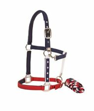 USA Flag Pride Red White Blue Stars America tack Horse Halter Lead Rope set NEW
