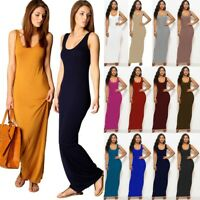 Women Racer Muscle Back Stretchy Long Summer Vest Ladies Maxi Dress Plus Size