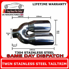 Stainless Steel Exhaust Twin Tailpipe T304 Acoustic Style Racing Tip