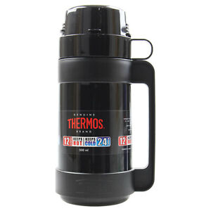 Thermos 500ml Black Mondial Glass Vacuum Insulated Hot Cold Travel Bottle Flask