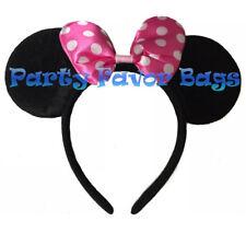 Minnie Mouse Ears Headband Polka Dot Pink Bow Adult Kid Halloween Costume Cute