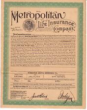 1916 Life insurance policy, Metropolitan Life Insurance Co. New York