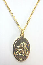 """Thoughtful Cherub / Guardian Angel Medal Pendant Necklace Gold Plated 20"""" Chain"""