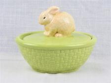 Hallmark Easter Spring Bunny Rabbit Ceramic Green Basket Candy Dish