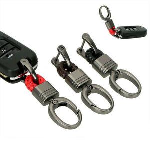 Leather Braided Woven Keychain Key Chain Holder Car Keyring Men Key Ring Metal