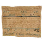 Antique Late 18th / Early 19th c. Susan St. John Age 9 Sampler X-Stitch Sampler