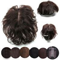 Women Wavy Curly Hairpiece Clip In Real Virgin Human Hair Top Topper Toupee Wigs