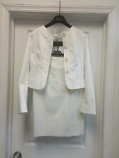 Burberry Solid White Cotton Jacket 3/4 Sleeve Pencil Skirt Knee Lengh Sz 4 S