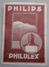"""RARE Original Antique PHILIPS Catalog Brochure/ """"PHILULEX"""" Industrial Lamps"""