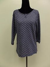 CHRISTOPHER BANKS BLOUSE TOP BLUE POLKA DOT BOAT NECK WOMEN'S SIZE SMALL