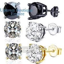 Round Stud Earrings 2,3,4,5,6,7,8,9,10mm Men Women's 925 Sterling Silver