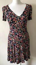 Topshop Floral Jersey Tea Dress Size 6 Autumn Layer Lace-up Back Stretch V-neck