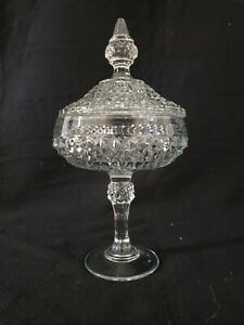 Candy Dish with Lid Diamond Point Clear by INDIANA GLASS