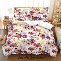3D Hand Drawn Floral Leaves Quilt Cover Sets Pillowcases Duvet Comforter 12