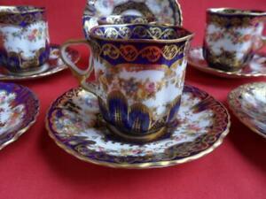 Crown Staffordshire Antique Cobalt Blue & Floral Design 6 x Coffee Cups & Saucer