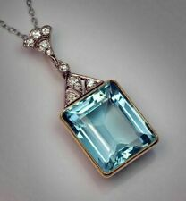 "2.50Ct Emerald Cut Aquamarine Vintage Pendant 14K Yellow Gold Finish Chain 18"""