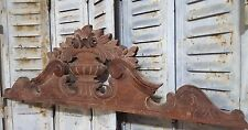 CARVED WOOD PEDIMENT ANTIQUE FRENCH FLOWER WEATHERED SALVAGED CARVING CREST 19th