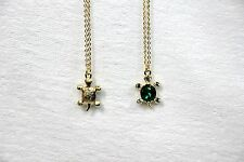 AUSTRIAN CRYSTAL 18K GOLD TURTLE TORTOISE NECKLACE REVERSIBLE