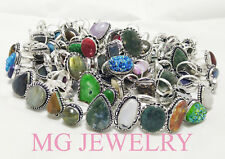 Big Sale ! Wholesale 25 Pcs Ring Lot Mix Gemstone 925 Sterling Silver Plated