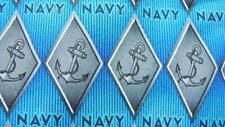 EAGLE NECKWEAR NAVY DIAMOND LOGO BLUE GRAY SILK NECKTIE TIE MJN1419B #E14