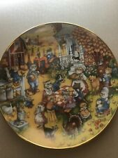 """Franklin Mint """"A Purrfect Feast"""" collectors plate thanksgiving theme Bill Bell"""
