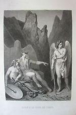 GRAVURE de ALLAIS PARADIS PERDU  XIX éme  SATAN A LA COUR DU CHAOS ENFER DIEUX
