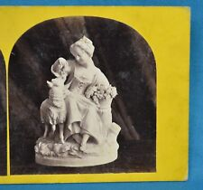 1860s Stereoview Photo Still Life Of Sculpture Statue The Pet Lamb