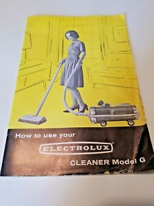 Vintage 1968 Electrolux Vacuum Cleaners Owners Manual Model G Cannister