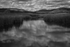 Black White Photo Jemez River Valles Caldera New Mexico clouds mountains hills