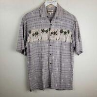 Campia Moda Mens Gray Rayon Short Sleeve Button Up Palm Tree Hawaiian Shirt Sz M