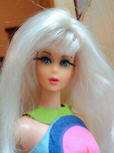 Vintage TNT Barbie Japan Doll OOAK PLATINUM WIG SUNFLOWER DRESS HEELS SOME TLC