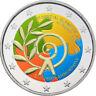 2 Euro Gedenkmünze Griechenland 2011 coloriert mit Farbe / Farbmünze Olympics