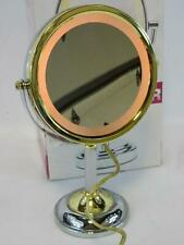 Jensen Products Vanity Mirror Corded Lighted Makeup Chrome/Gold Finish