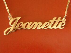 Gold Nameplate Necklace Solid 14 ct 14k 14 karat REAL GOLD name Necklace custom