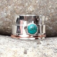 Turquoise Solid 925 Sterling Silver Spinner Ring Meditation statement Ring SR305