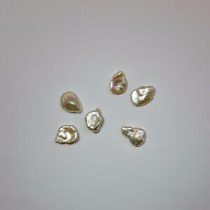Two Freshwater Pearl 12-13mm Keshi Shape Pearls White Jewellery Making