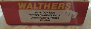 Walther's HO 40 Ft Stock Car With Dreadnaught Ends Union Pacific #49503 932-2762