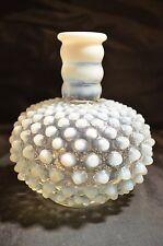 Vintage Fenton Glass White Hobnail Opalescent Perfume Bottle Blue and White