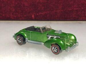 Original 1971 Hot Wheels Redline Classic Cord Green Hong Kong DieCast Mattel