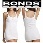 WOMENS BONDS JUDY RIBBED TOP LADIES WHITE STRETCH SINGLET PLUS SIZE 12 14 18 20