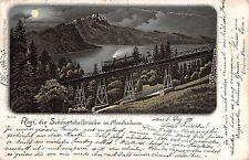 0366) SVIZZERA LUGANO, RIGI DIE SCHNURTOBLEBRUCKE IM MONDSCHEIN. VG IL 5/12/1899